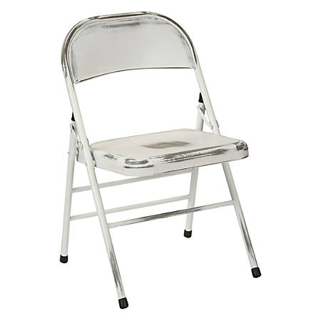 Office Star™ Bristow Steel Folding Chairs, Antique White Distressed, Set Of 2 Chairs