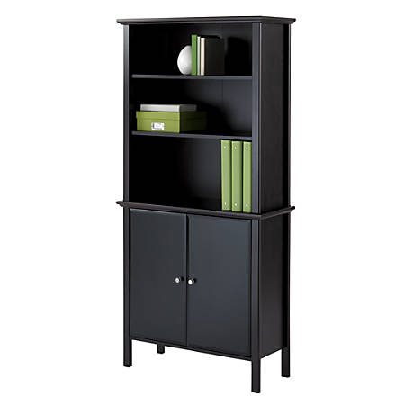 Reale Chase Bookcase With Doors Dark