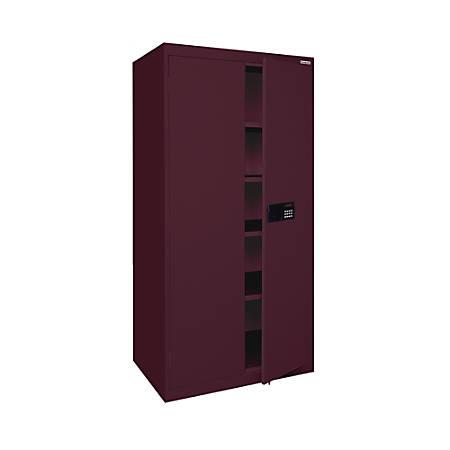 """Sandusky® Keyless Electronic Storage Cabinet, 72""""H x 36""""W x 18""""D, Burgundy"""
