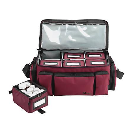 "MMF Industries Med-Master Locking Medication Transport Bag, 18 1/2""H x 9 1/2""W x 8 1/2""D, Burgundy"