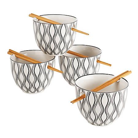 Riley & Co. Noodle Bowls and Chopsticks Sets, Black/White, Pack Of 4 Sets