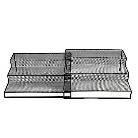 """Mind Reader 3-Tier 2-Piece Metal Mesh Multipurpose Kitchen Organizer, 4""""H x 20""""W x 9 1/4""""D, Black"""