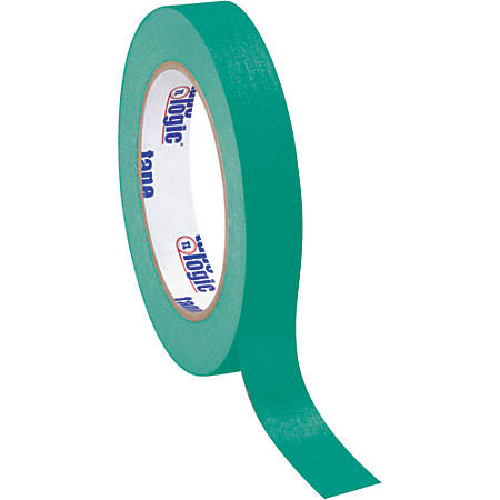 "Tape Logic® Color Masking Tape, 3"" Core, 0.75"" x 180', Dark Green, Case Of 12"