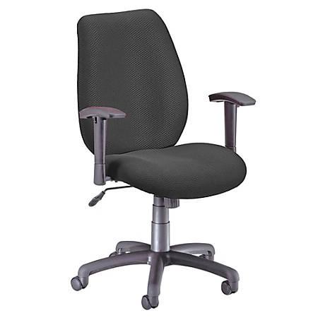 "OFM Ergonomic Fabric Chair, 40""H x 26""W x 29 1/2""D, Black Frame, Ebony Fabric"