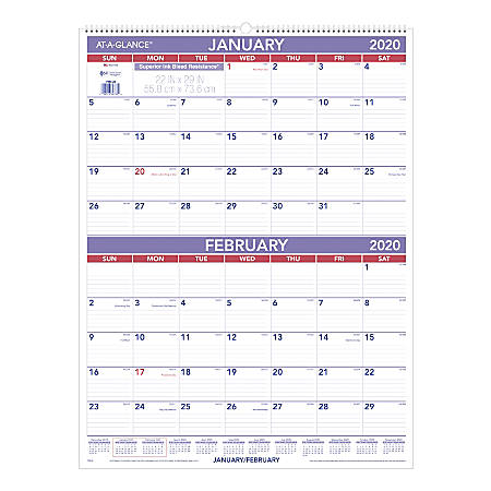 "AT-A-GLANCE® Monthly Wall Calendar, 22"" x 29"", White, January To December 2020, PM928"