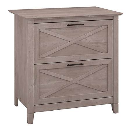 Bush Furniture Key West Lateral File Cabinet, Washed Gray, Standard Delivery