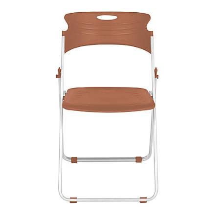 OFM Flexure Plastic Folding Chair, Caramel Brown, Set Of 4