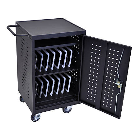 "Luxor LLTM30-B 30-Tablet Charging Cart, 36 3/4""H x 26""W x 20 1/4""D, Black"