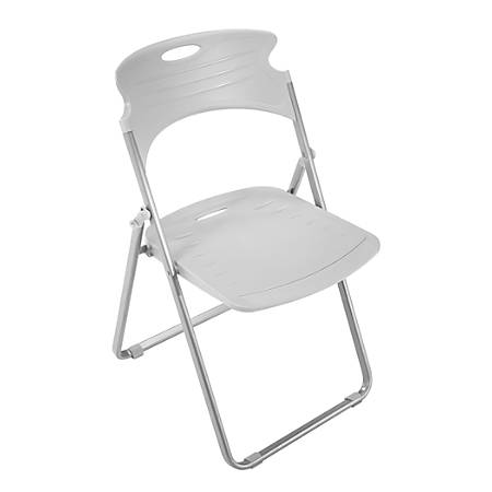 OFM Flexure Plastic Folding Chair, Dove Gray/Silver, Set Of 4