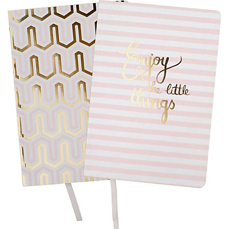 "Mead Simplicity Journal - 112 Sheets - Gummed - Front Ruling Surface - 5 3/4"" x 8 1/4"" - White Paper - Assorted Cover - Rounded Corner, Ribbon Marker, Wood-free - 1Each"