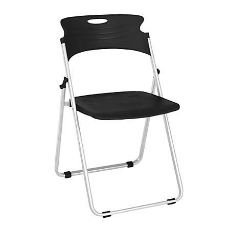 OFM Flexure Plastic Folding Chair, Black/Silver, Set Of 4