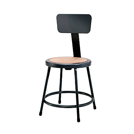 """National Public Seating Hardboard Stools With Backs, 18""""H, Black, Pack Of 5"""