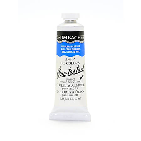 Grumbacher P039 Pre-Tested Artists' Oil Colors, 1.25 Oz, Cerulean Blue Hue, Pack Of 2