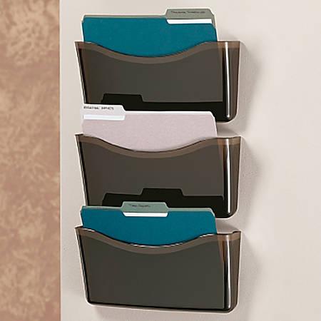Brenton Studio™ Unbreakable 3-Pocket Letter-Size Wall Files, Black, Pack Of 3