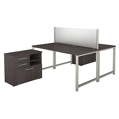 """Bush Business Furniture 400 Series 2-Person Workstation With Table Desks And Storage, 60""""W x 30""""D, Storm Gray, Standard Delivery"""