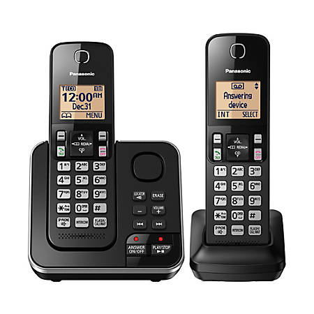 Panasonic® DECT 6.0 Expandable Cordless Phone System With Answering Machine And 2 Handsets, KX-TGC362B