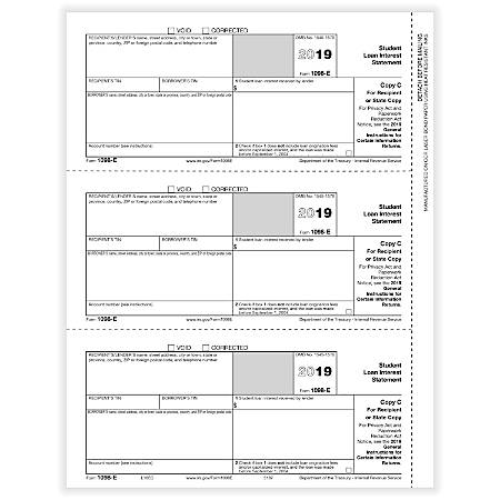 "ComplyRight™ 1098-E Laser Tax Forms, Recipient/State Copy C, 8-1/2"" x 11"", Pack Of 50 Forms"
