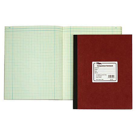 "TOPS™ Computation Notebook, 11 3/4"" x 9 1/4"", 4 x 4 Quad, 75 Sheets"