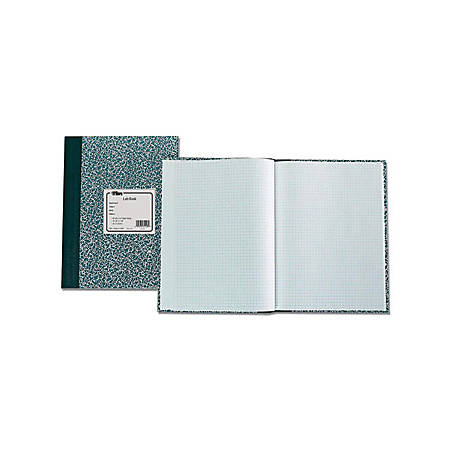 "TOPS Quad Ruled Lab Research Notebook - 60 Sheets - 7 3/4"" x 10 3/8"" - White Paper - Green Cover - Graphite Cover - Stiff-back - 1Each"