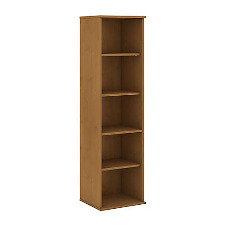 "Bush Business Furniture 5 Shelf Narrow Bookcase, 66""H, Natural Cherry, Premium Installation"