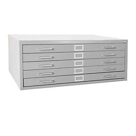 "Sandusky® 5-Drawer Flat File, 16 1/8""H x 53 3/4""W x 41 5/16""D, Dove Gray"