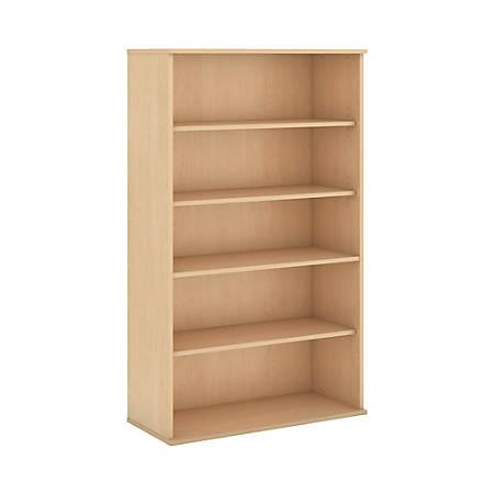 "Bush Business Furniture 5 Shelf Bookcase, 66""H, Natural Maple, Standard Delivery"