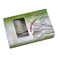 StalkMarket Compostable Assorted Cutlery Pearlescent White