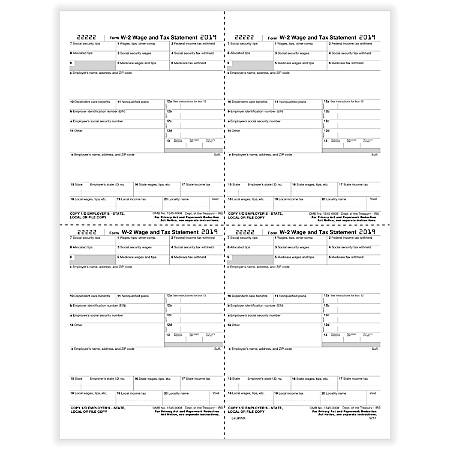 "ComplyRight™ W-2 Tax Forms, Inkjet/Laser, Employer Copy 1 State, City Or Local Tax Department, 4-Up Box W-Format, 8-1/2"" x 11"", Pack Of 50 Forms"