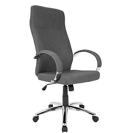 LumiSource Ambassador Fabric High-Back Office Chair, Gray/Chrome