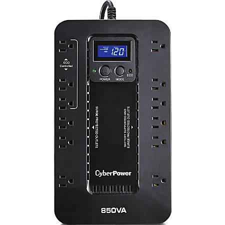 CyberPower EC850LCD Ecologic 850VA/510W Energy Efficient LCD Desktop ECO UPS - 850 VA/510 W - Desktop - 6 Minute Half Load - 12 x NEMA 5-15R
