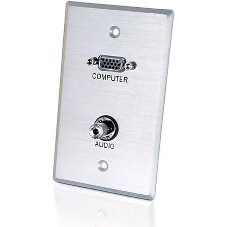 C2G VGA and 3.5mm Audio Pass Through Single Gang Wall Plate - Brushed Aluminum