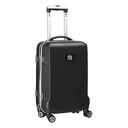 """Denco 2-In-1 Hard Case Rolling Carry-On Luggage, 21""""H x 13""""W x 9""""D, New York Yankees, Black"""