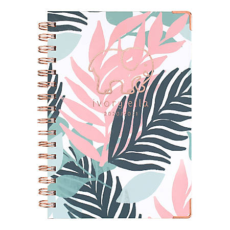 """Cambridge® Ivory Ella Weekly/Monthly Academic Planner, 5-1/2"""" x 8-1/2"""", Palm Leaves, July 2020 To June 2021, 6382-200A"""