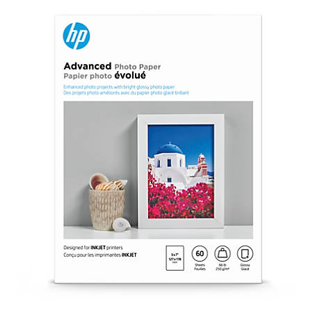 """HP Advanced Photo Paper for Inkjet Printers, Glossy, 5"""" x 7"""", 66 Lb., Pack Of 60 Sheets (Q8690A)"""