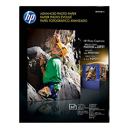 "HP Advanced Photo Paper, 5"" x 7"", 10.5 Mil, Pack Of 60 Sheets"