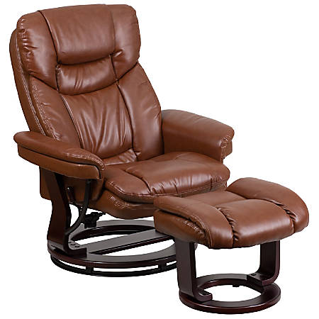 Flash Furniture Contemporary Recliner With Curved Ottoman, Vintage Brown/Mahogany