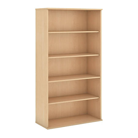 "Bush Business Furniture 5 Shelf Bookcase, 72""H, Natural Maple, Standard Delivery"