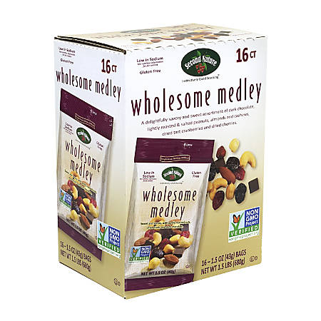 Second Nature Wholesome Medley Mixed Nuts, 1.5 Oz, Pack Of 16 Bags