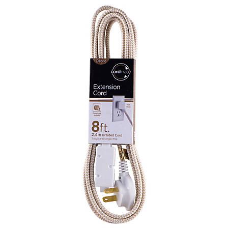 Cordinate Braided 3-Outlet Extension Cord, 8', Tan/White