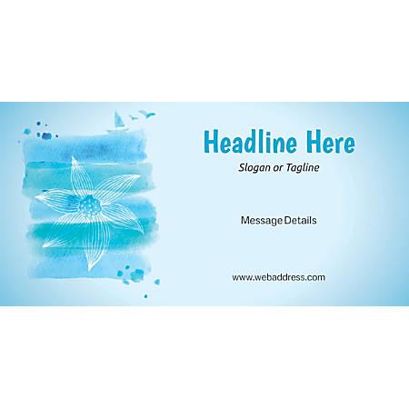Custom Horizontal Banner, Blue Spa Flower
