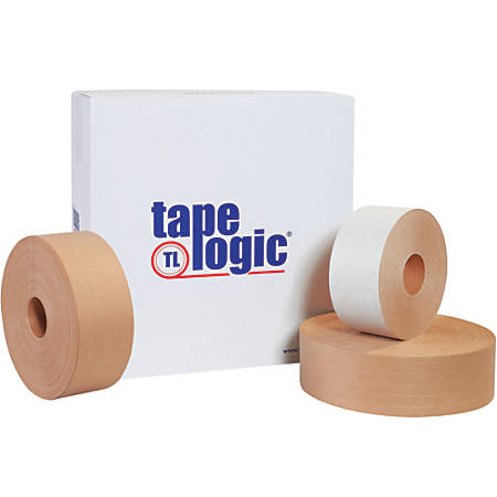 """Tape Logic® Reinforced Water-Activated Packing Tape, #7500, 3"""" Core, 3"""" x 125 Yd., Kraft, Case Of 8"""