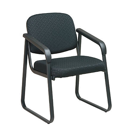 Office Star™ Work Smart Deluxe Fabric Guest Chair, With Arms, Black