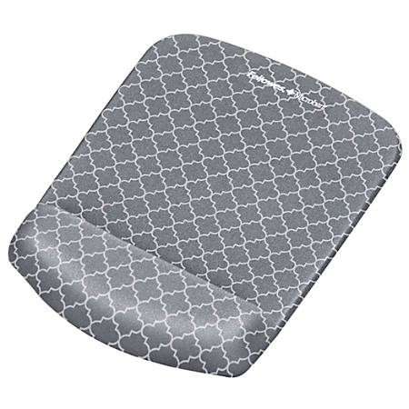 Fellowes® PlushTouch™ Mouse Pad With Wrist Rest, Gray/White