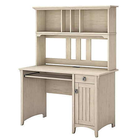 Bush Furniture Salinas Mission Desk With Hutch Antique White Standard Delivery Item 870092
