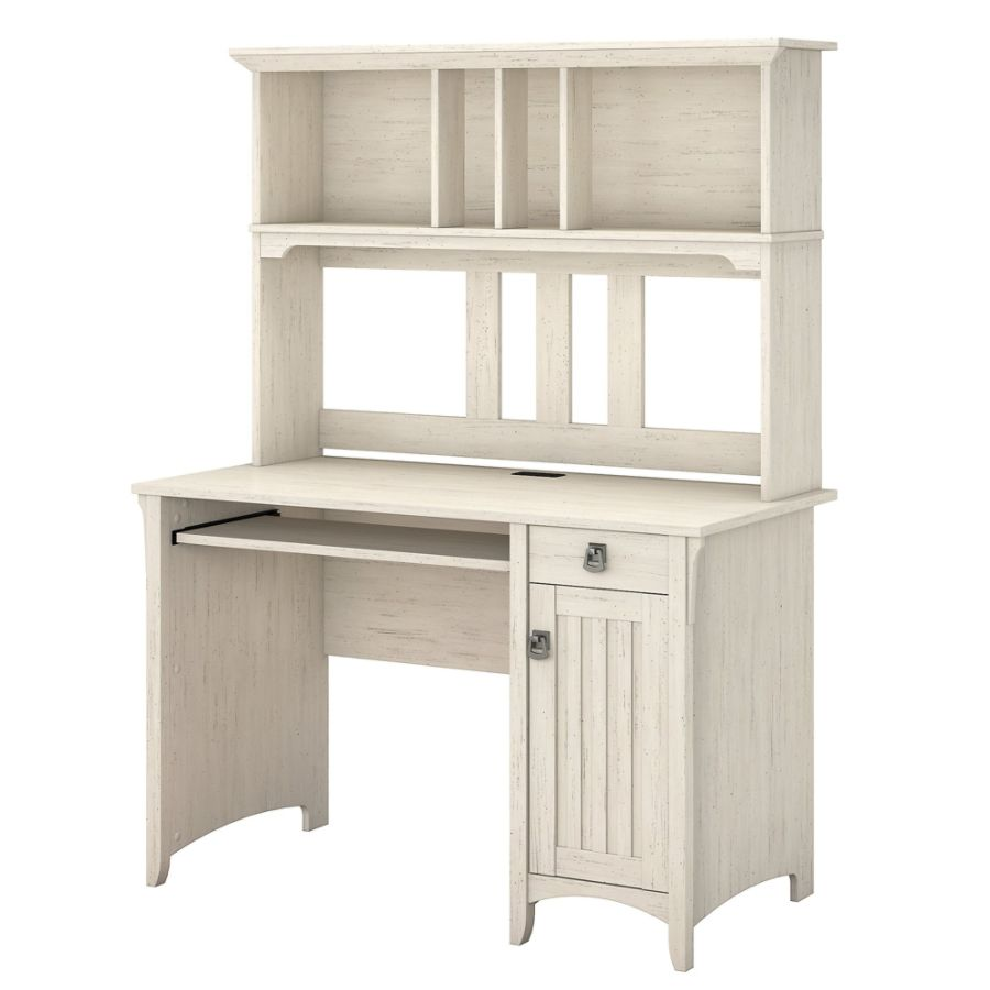 Bush Furniture Salinas Mission Desk With Hutch Antique White Standard  Delivery By Office Depot U0026 OfficeMax