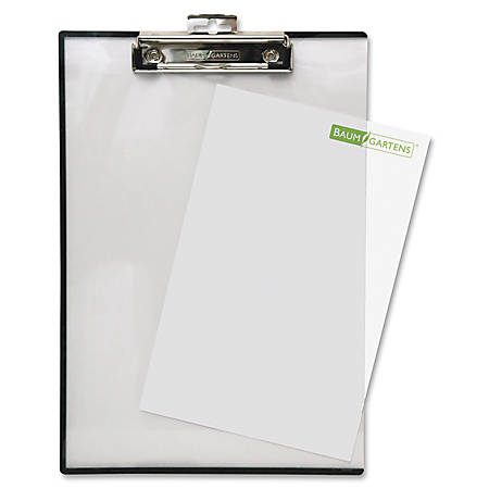 """Baumgartens® Double-Panel See-Thru Clipboard, 8 1/2"""" x 11"""", Clear"""