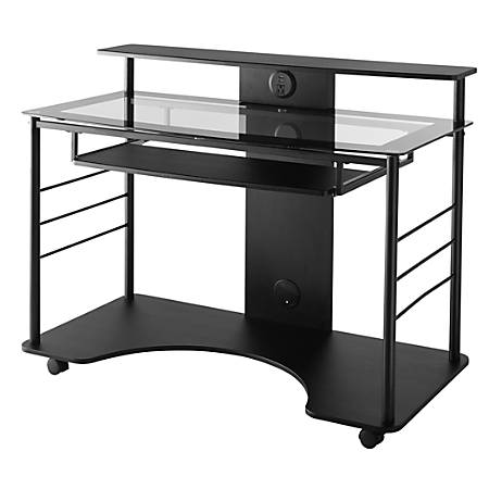 "Realspace® 47""W Mobile Tech Desk, Black"