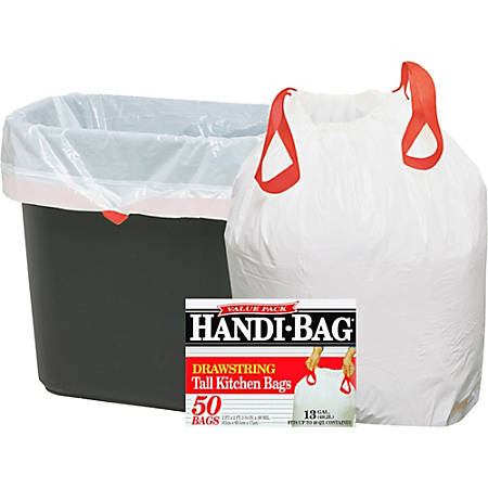 """Webster 50% Recycled Drawstring Trash Bags, 13 Gallons, 24"""" x 27"""", White, Box Of 50"""
