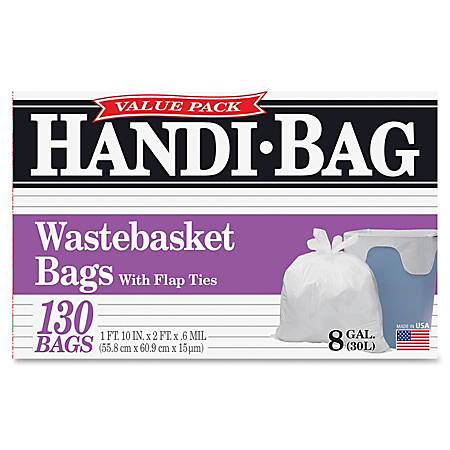 Webster Handi Bag Waste Liners, 8 Gallons, White, Box Of 130 Liners