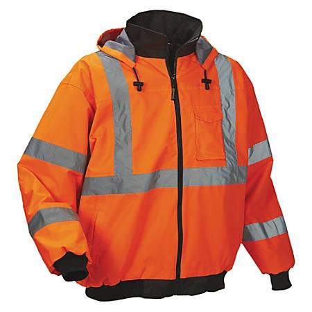 OccuNomix Polyester Bomber Jacket, Large, Orange